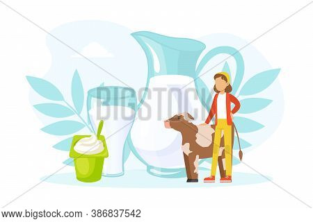 Tiny Woman Farmer And Cow Standing On Background Of Natural Eco Dairy Products, Agricultural Industr