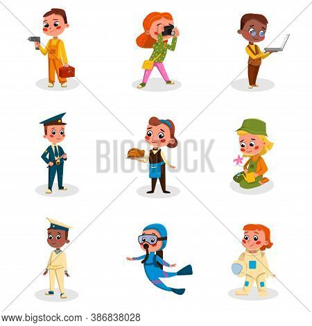 Cute Childrens Of Various Professions Set, Kids Hobby Or Future Profession Concept Cartoon Style Vec