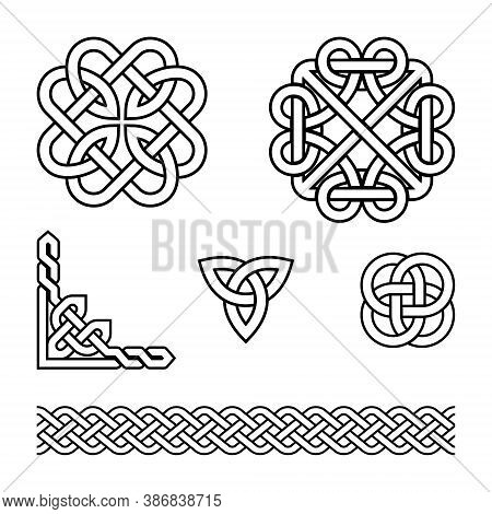 Celtic Vector Pattern Set - Braids And Knots With Stroke, Irish Traditional Design Elements Collecti