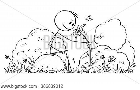 Vector Cartoon Stick Figure Drawing Conceptual Illustration Of Man Sitting In Peaceful Nature Surrou