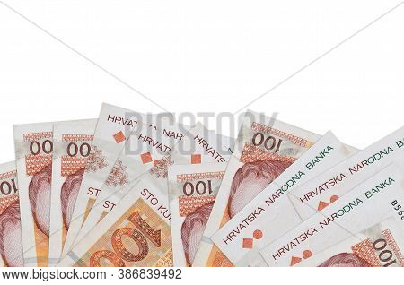 100 Croatian Kuna Bills Lies On Bottom Side Of Screen Isolated On White Background With Copy Space.