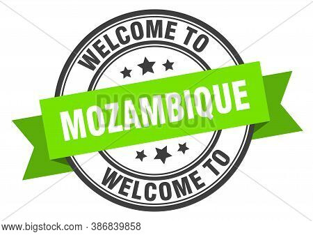 Mozambique Stamp. Welcome To Mozambique Green Sign