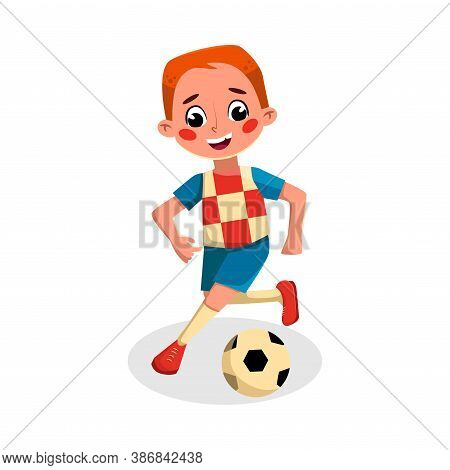 Boy Playing Soccer, Kid Practicing Sports Game, Doing Physical Exercise, Active Healthy Lifestyle Co
