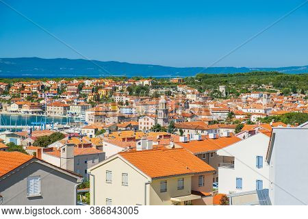 Panoramic View Of Town Of Cres On The Island Of Cres In Croatia, Beautiful Adriatic Seascape