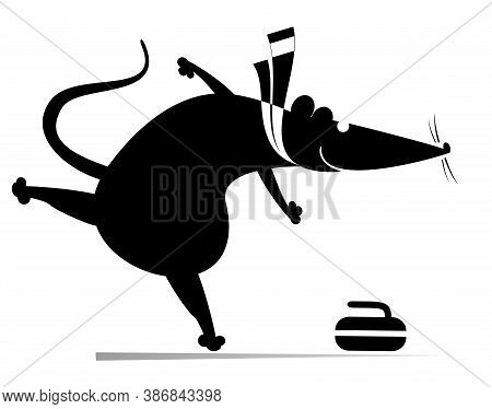 Rat Or Mouse Plays Curling Illustration. Cartoon Rat Or Mouse Pushes A Stone Towards A Target Black