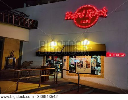 Sharm El Sheikh, Egypt - September 13, 2020: Hard Rock Cafe In Popular Shopping And Entertainment Di