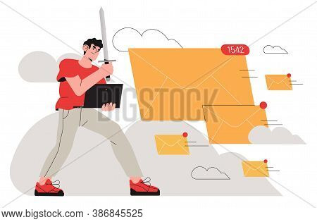 Brave Man, Office Worker, Business Man Fight With Spam Email Messages By Protecting His Computor Wit