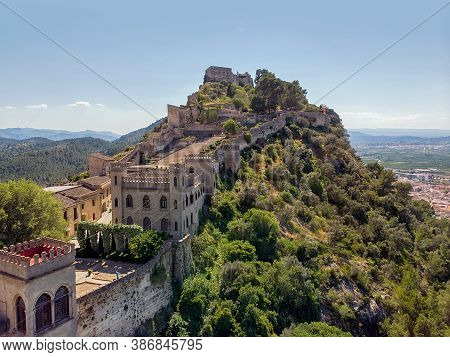 Aerial Image Xativa Ancient Spanish Castle. Valencian Community, Spain