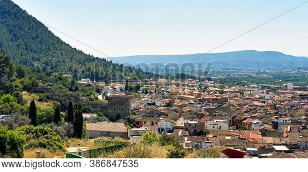 Panoramic Image Residential Buildings Typical Spanish Village, View From Above To Hillside Houses Of