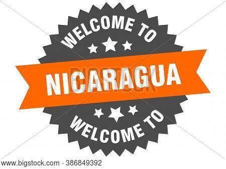 Nicaragua Sign. Welcome To Nicaragua Orange Sticker