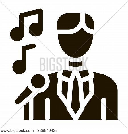 Man In Suit With Microphone Singing Recital Glyph Icon . Microphone And Dynamic, Concert And Theater