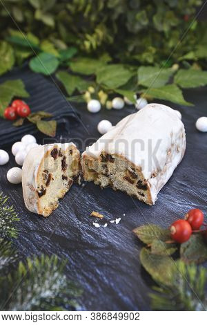 Cut Open Traditional German Christmas Season Sweet Food Called 'stollen' Or 'christstollen', A Fruit