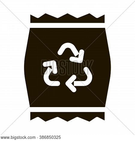 Plastic Parcel Bag With Recycle Mark Glyph Icon . Open And Closed Carton Packaging Pictogram. Parcel