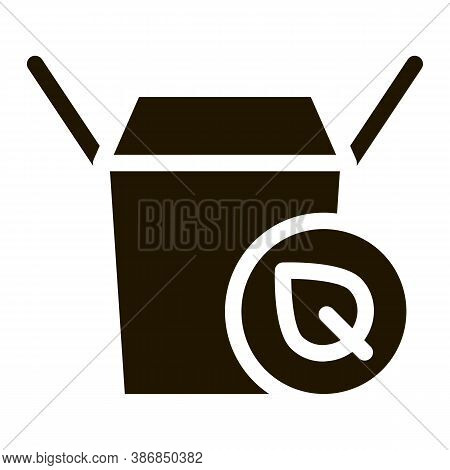 Carton Box For Food With Plant Leaf Glyph Icon . Open And Closed Carton Packaging Pictogram. Parcel,