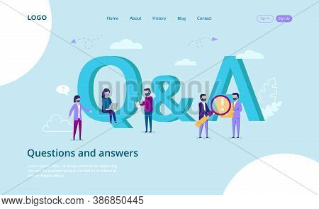 Questions And Answers, Communication , Q A Concept. A Group Of People Answering A Questionnaire Onli