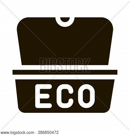 Eco Material Package For Street Food Glyph Icon . Carton Material Open And Closed Packaging Pictogra