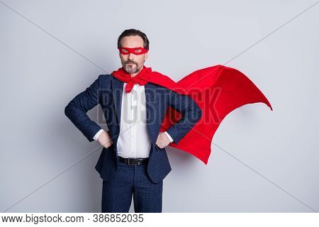 Photo Of Confident Courage Professional Mature Business Guy Man Arms By Sides Corporate Party Super