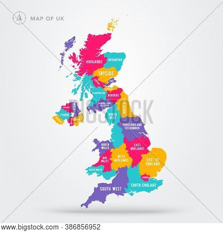 Vector Illustration Colorful Map Of Uk United Kingdom With Regions And Names