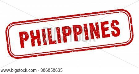 Philippines Stamp. Philippines Red Grunge Isolated Sign