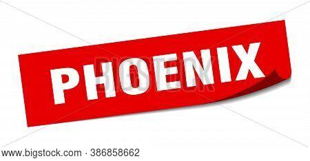 Phoenix Sticker. Phoenix Red Square Peeler Sign