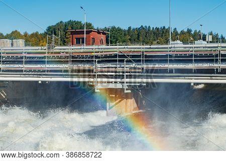 Beautiful Rainbow On Bypass At Rapids Kuusankoski, Finland
