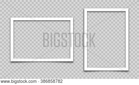 Realistic Empty Photo Card Frame, Film Set. Retro Vintage Photograph. Digital Snapshot Image. Templa