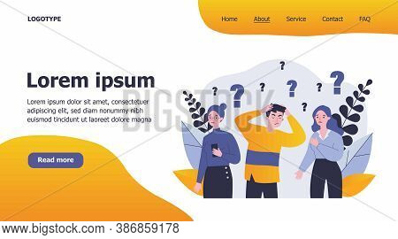 Concerned People Solving Problem. Depressed Guys And Girls Looking For Answers Flat Vector Illustrat