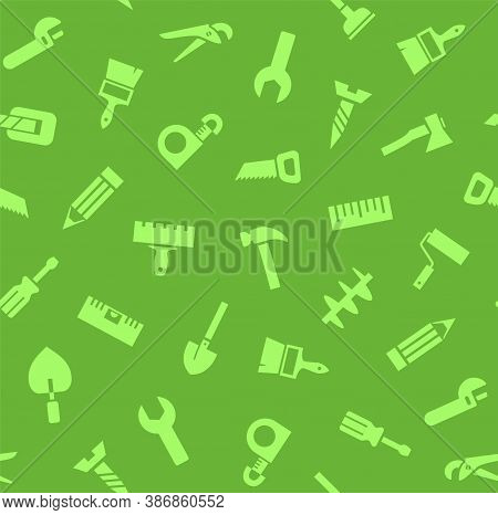 Hand Tools, Construction, Seamless Pattern, Color, Green. Green Icons On A Green Field. Colored Flat