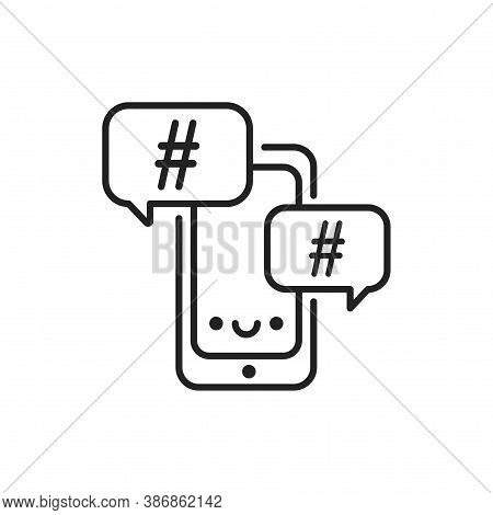 Hashtag Line Black Icon. Smm Promotion. Sign For Web Page, Mobile App, Button, Logo. Vector Isolated