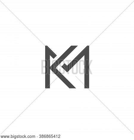 K M Letter Lettermark Logo Km Monogram - Typeface Type Emblem Character Trademark