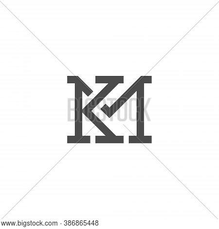 Km Letter Lettermark Logo K M Monogram - Typeface Type Emblem Character Trademark