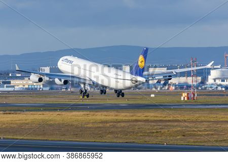 Airbus A340-300 Lufthansa Airlines. Germany, Frankfurt Am Main Airport. 14 December 2019