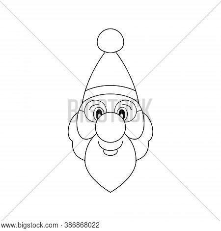Santa Claus Head. Black And White. Vector Illustration.
