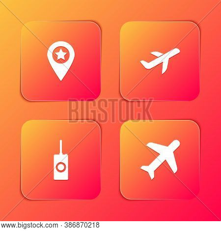 Set Location With Star, Plane, Remote Control And Icon. Vector