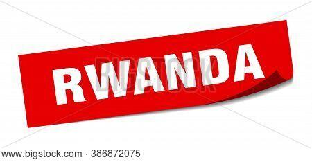 Rwanda Sticker. Rwanda Red Square Peeler Sign