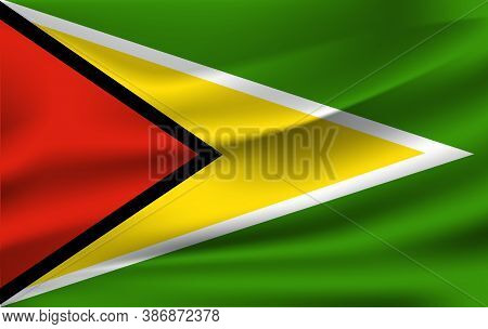 Realistic Waving Flag Of The Waving Flag Of Guyana, High Resolution Fabric Textured Flowing Flag,vec