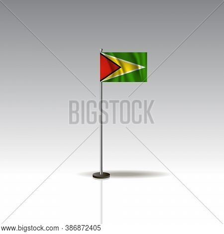 Desktop Flag Vector Image. National Guyana Flag Isolated On Gray Background.