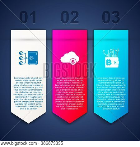 Set Proof Of Stake, Cryptocurrency Cloud Mining And Wallet. Business Infographic Template. Vector