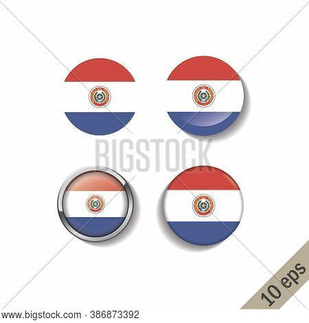 Set Of Paraguay Flags Round Badges. Vector Illustration. 10 Eps