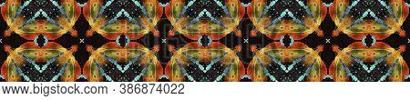 Geometric Rug Pattern. Dark Neon Seamless Texture. Abstract Batik Motif. Repeat Tie Dye Rapport. Eth