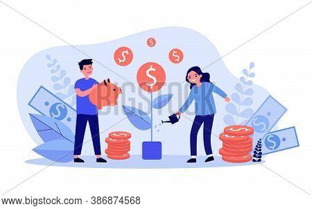 Happy Children Growing Money Tree. Coin, Piggybank, Cash Flat Vector Illustration. Financial Educati