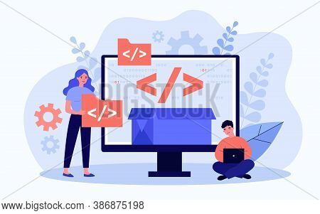 Tiny Programmers Programming Website For Internet Platform Flat Vector Illustration. Cartoon Develop