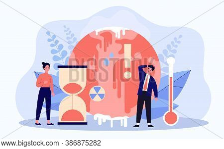 Tiny People Worrying About Ice Melting On Planet Flat Vector Illustration. Hot Climate Change With T