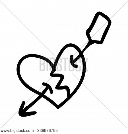 Punk Rock Heart Lineart Vector Illustration. Simple Alternative Sticker Clipart. Kids Emo Rocker Cut
