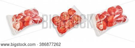 Tomato Sliced ​​and Packed In A Zip Bag Isolated On White Background. Preparation For The Winter.