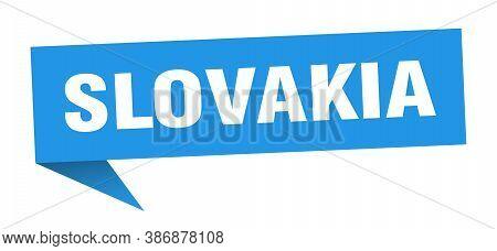 Slovakia Sticker. Blue Slovakia Signpost Pointer Sign