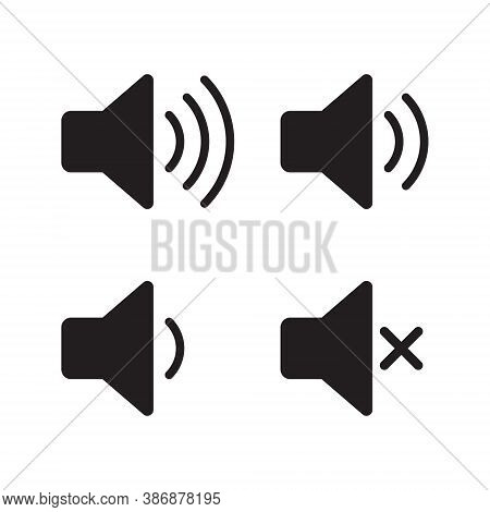 Speaker Audio Icon Set. Volume Voice Control On Off Mute Symbol. Flat Application Interface Sound Si
