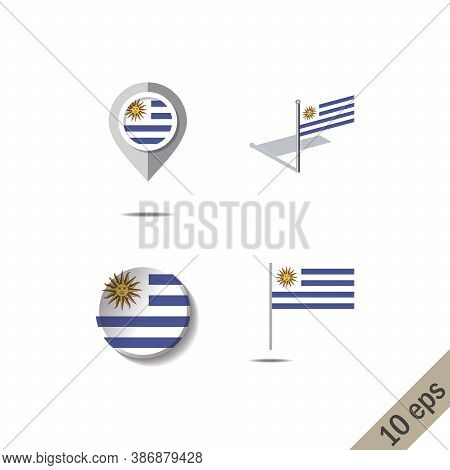 Map Pins With Flag Of Uruguay - Vector Illustration