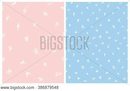 Cute Abstract Spots Vector Pattern. White Irregular Brush Spots On A Light Pink And Pastel Blue Back
