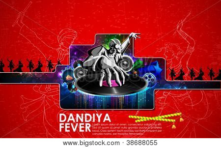 illustration of disco jockey playing in dandiya night poster